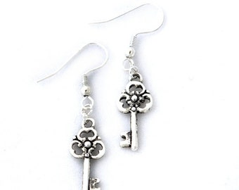 Steampunk Neo-Victorian Gothic Lolita Antiqued Silver Earrings with Skeleton Key Charms by Velvet Mechanism
