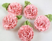 Handmade Pink Paper Flowers - Pink Paper Carnations - Hand Crafted Paper Flowers for Weddings, Craft Projects, Decorations