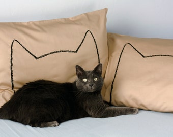 Mocha Brown Cat Nap Pillowcases, cool kids room decor, children's room, dorm decor girls, cat lover gift, drawing, cat lady, under 50