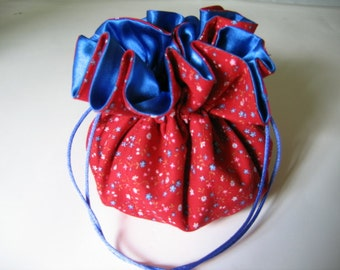 Red and Blue Calico Jewelry Tote Pouch Bag