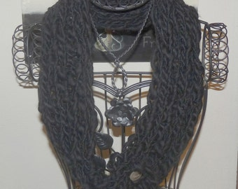 Knitted Loop Scarf Black Night