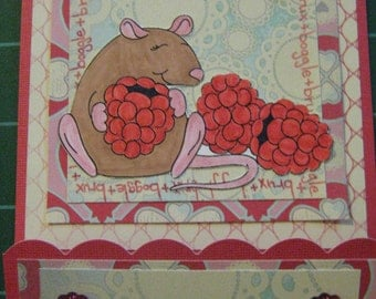 100% Charity Item: Happy Rat Full Sized Matchbook Style Five Card Set, Set of 5 with envelopes