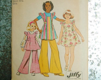 Vintage 1970s Dress Girls Size 12 Smock Dress Tunic Wide Leg Pants Simplicity 5483 UNCUT Sewing Pattern Flutter Sleeves