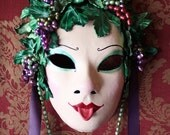 Baccante - Leather Fertility Mask with grape necklace and glass wine flask. - Ready to ship