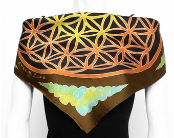 """Silk Scarf Hand Painted. Flower of Life Scarf. Hand Painted on Satin Silk. Square 21""""x21""""."""