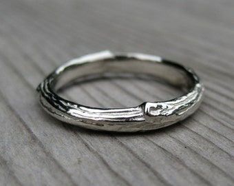 Branch Wedding Band: White Gold, Size 7; Ready to Ship