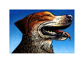 Happy Drool- 8 x 10 Signed Dog Portrait Print