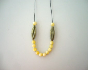 Yellow orange minimal necklace