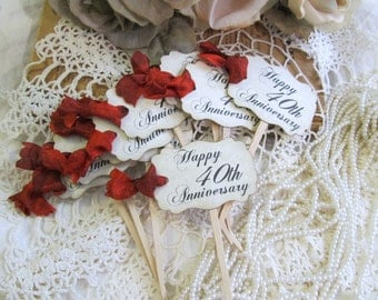 40th Anniversary Cupcake Toppers Party Picks or Favor Tags - Set of 18 - Choose Ribbons - Happy Anniversary - Vintage Rustic Style