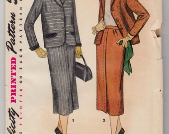 """Vintage Sewing Pattern 1940's Ladies Suit Jacket and Skirt Simplicity 4436 Size 12 30"""" Bust - Free Pattern Grading E-book Included"""
