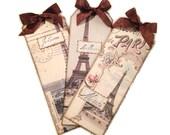 Paris Bookmarks, Paris Souvenir Bookmarks, Retro Paris Gift Tag, Parisian Tags, Parisian Party Favors