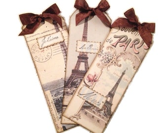 Paris Bookmarks, Set of 25 Party Favors, Paris Party Favor, Bridal Shower Favor, Retro Paris Gift Tag, Parisian Tags, Parisian Party Favors