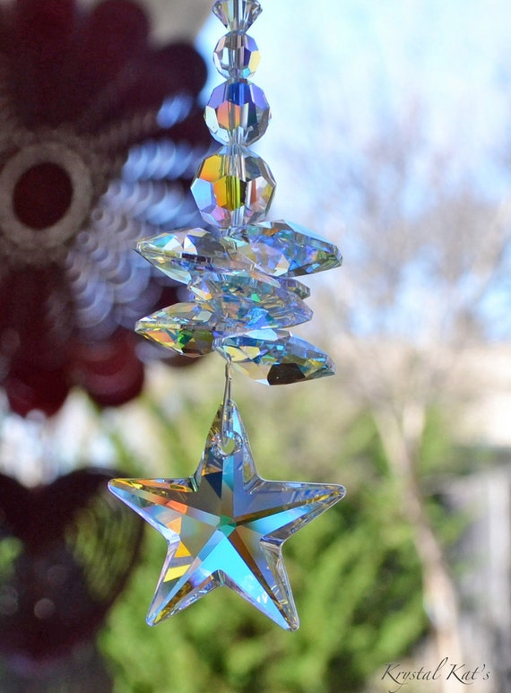 "7 1/2"" to 10"" Long Twinkle Twinkle Little Star Swarovski Crystal AB Rainbow Suncatcher Car Charm Ornament, Hanging Crystals for Home or Car"