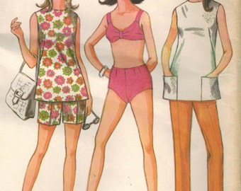 1960s McCall's 9237 Vintage Sewing Pattern Misses Bathing Suit and Pants, Shorts Size 12 Bust 34