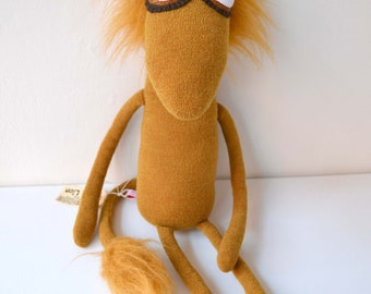 Lion stuffed toy animal handmade plush art doll