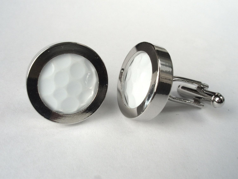 Golf ball cufflinks wedding cufflinks silver plated for Golf buflings
