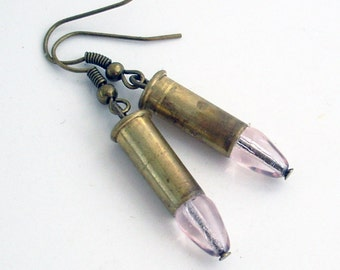 Pretty in Pink - Tiny Brass Bullet Earrings