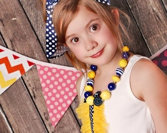 Made to match the Navy Dot & Lemon Drop by 3lp Couture Chunky Necklace for girls