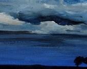 night sky painting, Night Landscape, original acrylic painting on canvas, cloud painting, original art