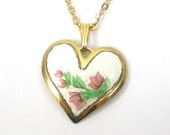 Heart Necklace Pendant - Guilloche Enamel - Blooming Roses - Gold Vintage Valentine Jewelry