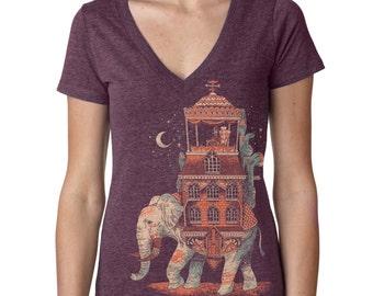 Womens Vintage Elephant Shirt, World Traveler, Cool Mustache Shirt, India, Purple V-Neck, Available in S M L XL XXL