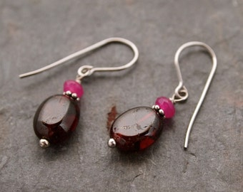 Pink jade and Garnet Earrings