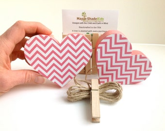 Heart Art Display Clips - Pink Chevron - eco-friendly by Maple Shade Kids