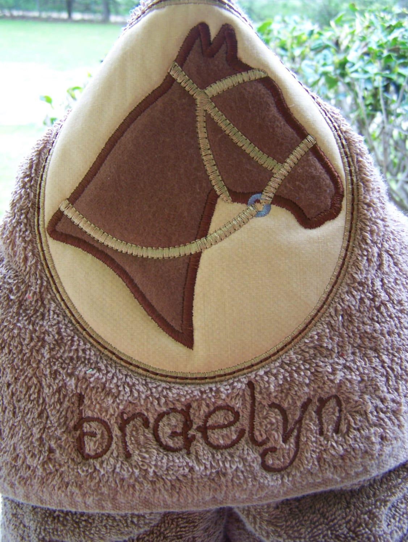 Horse Kids Hooded Bath Towel Personalized Beach Towel Hooded