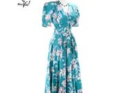 1980s Floral Teal Green Day Dress - Garden Party Hostess Vintage Blossoms  - size Small
