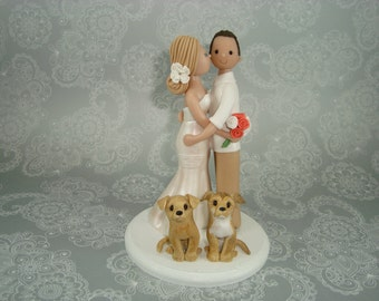 Customized Bride & Groom with Pets Wedding Cake Topper