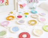 Polly : polka dot crochet garland, polka dot nursery decor in summer pastel colors & neon brights - ready to ship