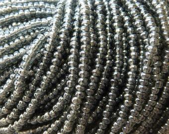 8/0 Transparent Black Diamond Luster Czech Glass Seed Bead Strand (CW10)