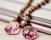 Pink Rhinestone Chain Earrings, Pink Baroque Swarovski Crystal Chandeliers