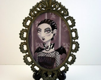 ORIGINAL PAINTING- Goth Girl (Mauve) - Framed 3.5 x 5 inch Gouache Painting in Vintage Frame
