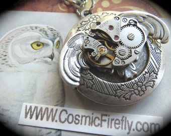 Steampunk Locket Necklace Antiqued Silver Owl Locket Gothic Owl Necklace Vintage Watch Movement Steampunk Necklace Handcrafted Necklace New