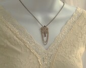 Antiqued Brass Filigree and Garnet Victorian Inspired Necklace