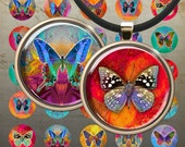 1 inch (25mm) and 1.5 inch Circles BUTTERFLIES Digital Collage Sheet Art Cult Printable images for pendants magnets bottle caps bezel trays
