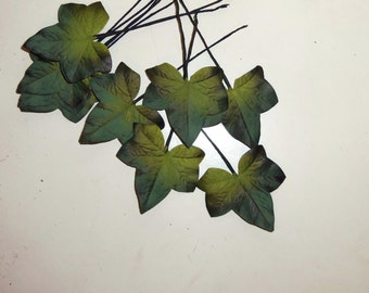 Vintage Millinery Flower IVY Leaves Olive  Green Slate Blue Black Ombre handpainted Hat Making Hair Wreath Boutonniere Supplies