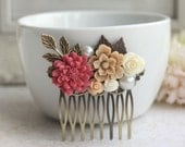A Shabby Nature Red Rustic, Brown Ivory Rose, Leaf, Vintage Style Collage Hair Comb. Maid Of Honor, Bridesmaids Gift. Country Wedding.