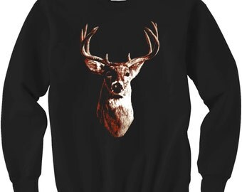 deer shirt - deer t shirt - deer head - deer print - nature shirt - camping shirt - mens tshirts - animal shirt - hunting -OH DEER-crew neck