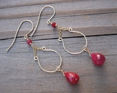 Genuine Ruby Earrings- Gold Filled, Harp Design, Hammered Wire