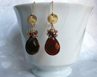 Garnet Quartz Earrings- Citrine, Garnet, Gold Filled