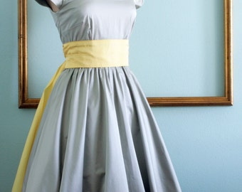 50's rockabilly dresses, retro style bridesmaids dress, classic 1950s dress with full skirt and cummerbund - ASHLEY style