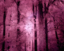 Nature Photography, Surreal Haunting Dark Forest, Pink Forest Trees Woodlands, Dark Pink Mauve Nature,Dark Pink Fantasy Nature Trees 8x12
