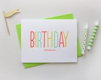 Letterpress Birthday Wishes - Happy Birthday
