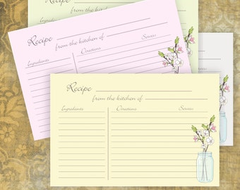 Mason Jar Recipe Cards 4 colors - 4x6 LINED - Instant Download -  No 867