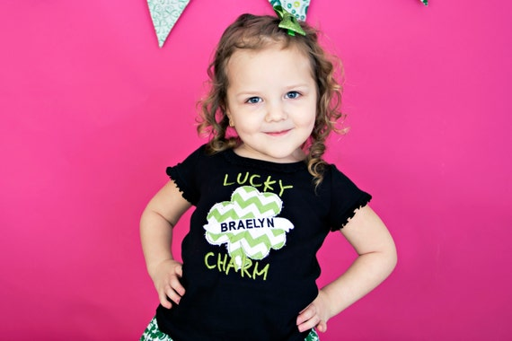 Saint Patrick's Day Shirt...Lucky Shamrock Shirt...Girls Shamrock Tattoo Shirt...St Patrick's Day Shirt
