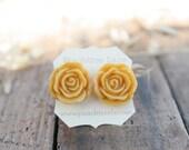 Mustard Yellow Rose Flower Earrings // Goldenrod Flower Earrings // Bridesmaid Gifts // Rustic Vintage Wedding