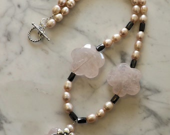 Rose Quartz Flower and Freshwater Pearl Necklace
