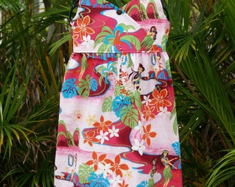Girls Hawaiian Dress Fuchsia Kiana Crossfront Halter Dress 6m - 13/14
